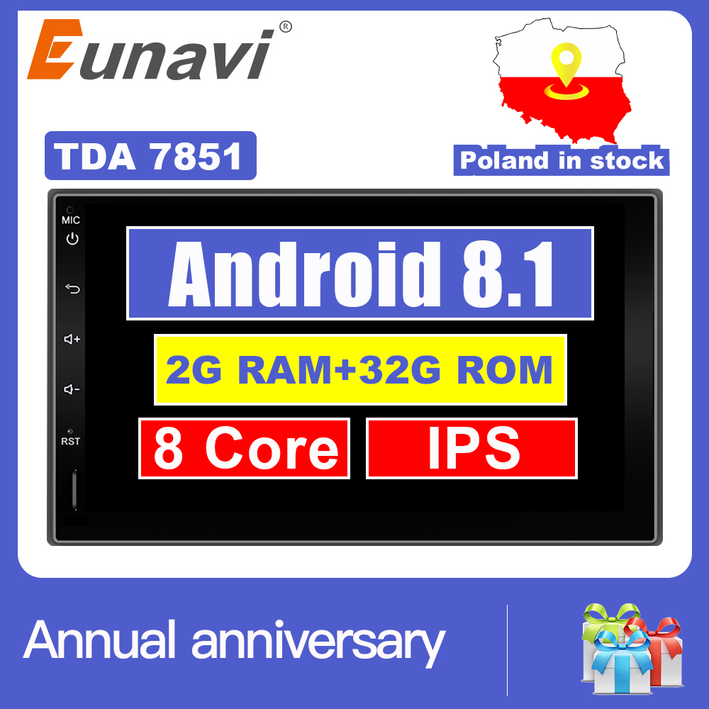 Eunavi 2 Din 7 ''Android 7.1 8.1 Universel autoradio Double din Stéréo navigation gps Au Tableau de Bord Pc Vidéo WIFI USB 2din BT