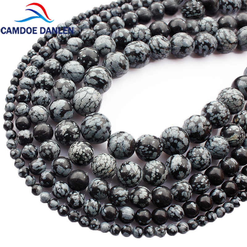 Natural Stone Snowflake Obsidian Alabaster Round Beads 4 6 8 1012 mm Beads For Jewelry Making Diy Bracelet Necklace