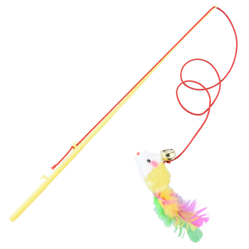 31cm fishing pole shape pet cat teaser toy with bell for Cat toy fishing pole