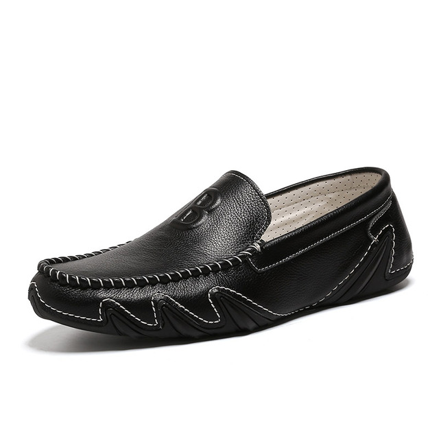 High Quality Spring Genuine Leather Men's Shoes Fashion Soft Comfortable Casual Man Flat Boat Shoes Black Slip on Men Loafers