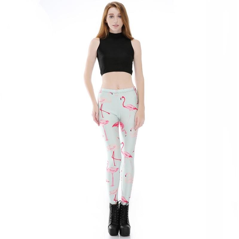 Women Fashion Skinny Pants Flamingo 3D Printed Leggings Flexible Elastic Spandex Legging Lady Plus Size Casual Bottoms leggings