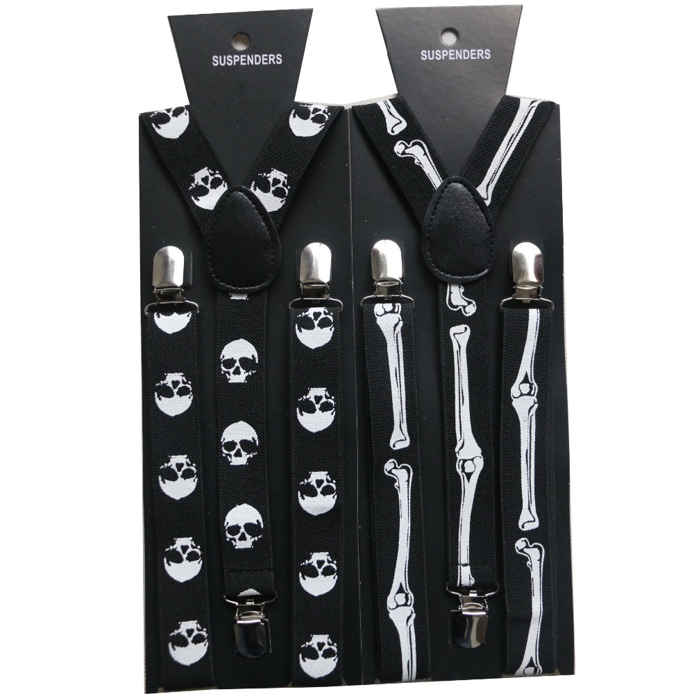 HUOBAO 2019 New Punk 1 Inch Wide Black Halloween Skull Bone Suspenders For Mens