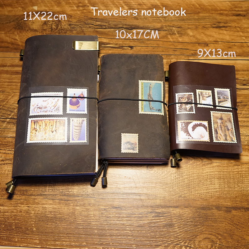 Handmade Vintage Genuine Leather Travelers Journal Notebook 8 Colors Bound Loose Leaf School Supplies Engrave Letters Notebook