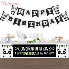 PATIMATE Cute Jungle Animal Panda Party Supplies Wedding Decors Paper Flags and Banners Happy Birthday Banner Baby Shower Girls