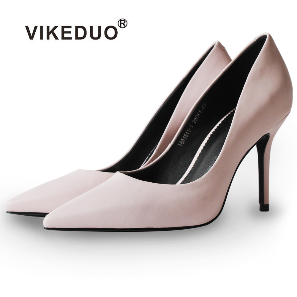 Vikeduo Brand Handmade Women Genuine Leather Shoes Fashion Office Party Dancing Wedding Dress Shoe For Ladies High Heel Pumps vikeduo hot 2018 handmade new feminino genuine leather shoes original design fashion party wedding shoe women high heels pumps