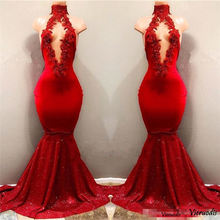 New Black Mermaid Prom Dresses High Neck Sexy See Through Gold Lace Appliques Evening dress Long Sleeve Backless Party Gowns цены