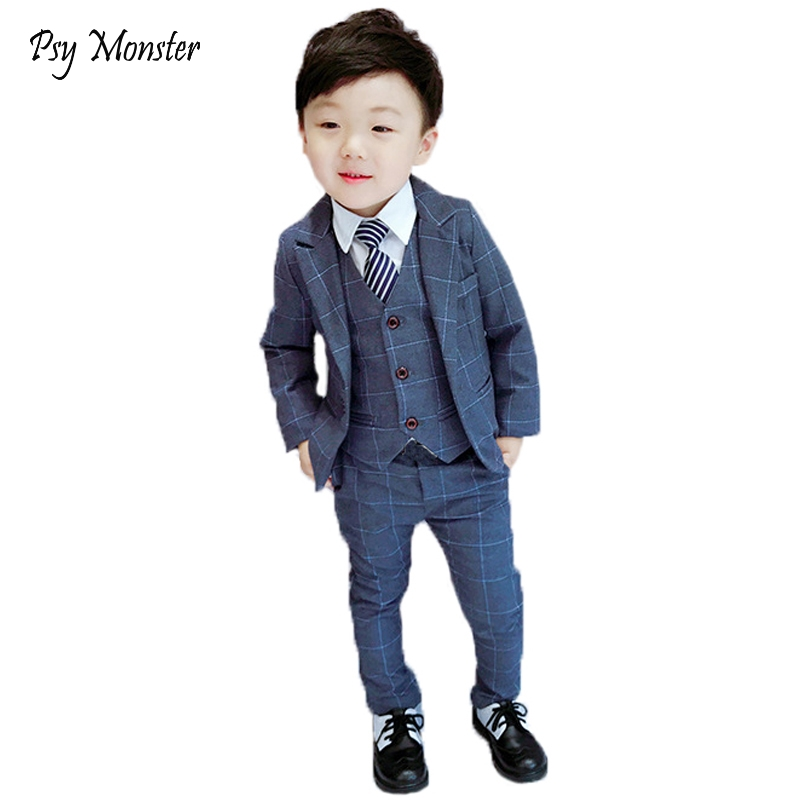 Brand Children Flower Boys Suits Kids Blazer Formal Dress Suit For Weddings Birthday Clothes Set Jackets Vest Pants 3pcs F125