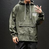 Brand New Loose Mens Jackets Plus Size Fashion 2019 Pullover Casual Jacket Men Long Sleeve Front Pocket Windbreaker Coat 5XL M