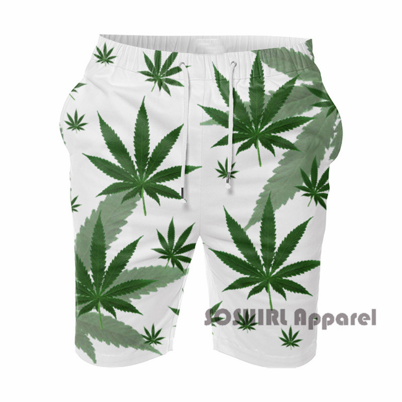 Professional Sale Soshirl Weed 3d Print Mens Casual Shorts Fashion Style Mens Shorts Beach Shorts Plus Size M-4xl Short For Male Moderate Price Board Shorts