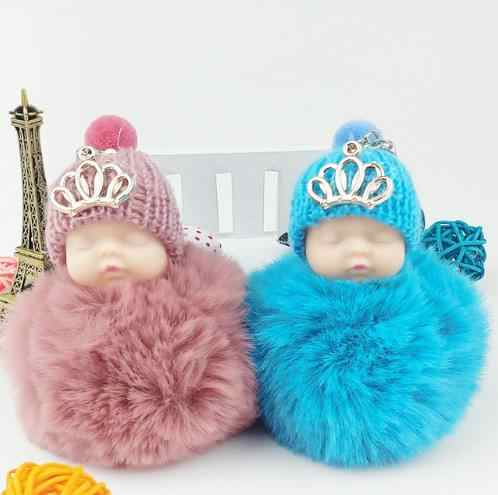 Crown Sleeping Baby Doll Keychain Pompom Rabbit Fur Ball Key Chain Fluffy Car Keyring porte clef Bag Key ring llaveros chaveiro
