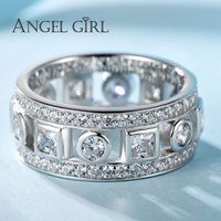 Angel Girl 925 Sterling Silver Jewelry 9MM Width Ring With Clear Cubic Zirconia Crystal For Engagement Party