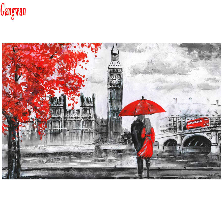 5d diy diamond Painting London Big Ben,Red Bus,couple,picture mosaic diamond embroidery city View full square round rhinestones