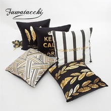 Fuwatacchi Bronzing Painting Cushion Cover Gold Geometric Pineapple Feather Decor Throw Pillows Home Sofa Car Pillow Case