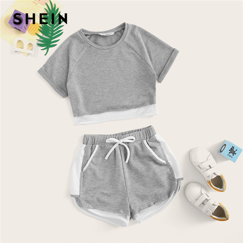 SHEIN Kiddie Grey Girls Fishnet Hem Crop Top And Drawstring Waist Shorts Set 2019 Roll Up Sleeve Colorblock Active Wear Sets puff sleeve crop top and wide leg pants set