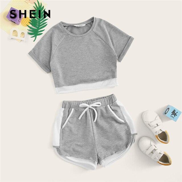 SHEIN Kiddie/комплект серых коротких топов в сеточку и шорт с завязками на талии для девочек, 2019 год, комплекты одежды для активного отдыха с закатанными рукавами