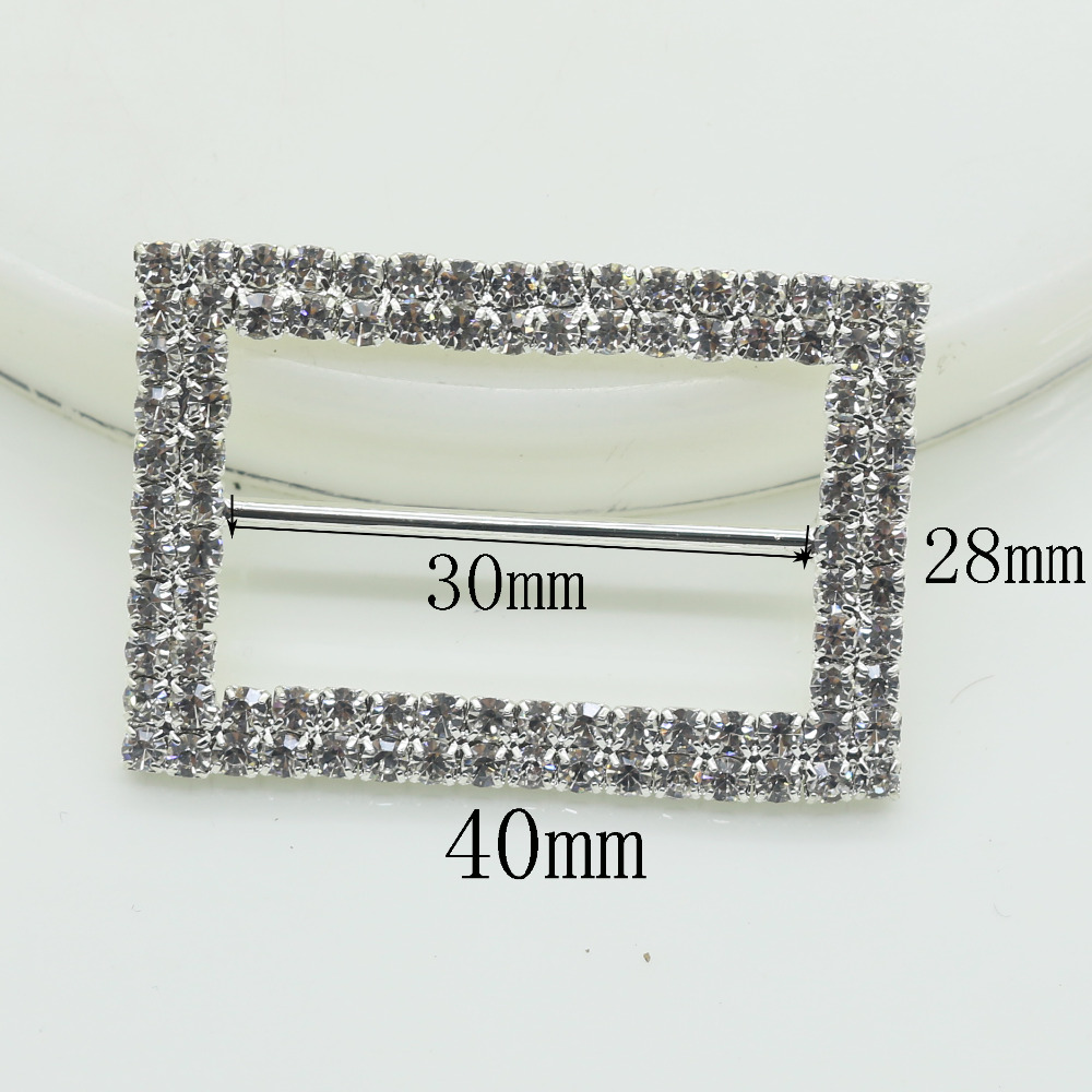 Shiny Rectangle 5pc silver Rhinestone Buckle Diamante Ribbon Slider ...