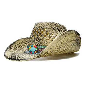 LUCKYLIANJI Retro de los hombres de las mujeres playa de la paja del verano vaquero  vaquera occidental sombrero Fedora hueco borla turquesa banda (ajustar) d260b5096bb