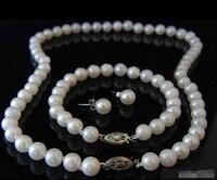 Großhandel schnelles VERSCHIFFEN>>>> Echt 8-9mm White Pearl White Verschluss Armband Ohrringe Halskette Set (A0423)-braut jewel