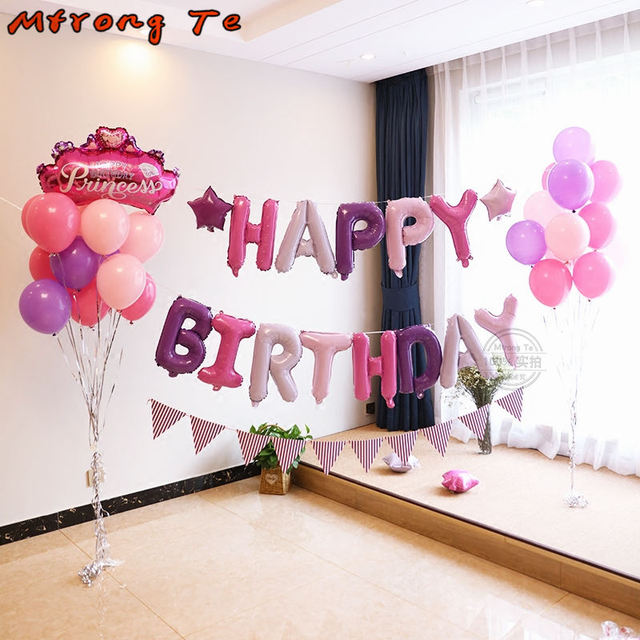 13pcs Set Rose Gold Happy Birthday Letter Balloons Alphabet Banner Inflatable Globos Air Color Mtrong Te