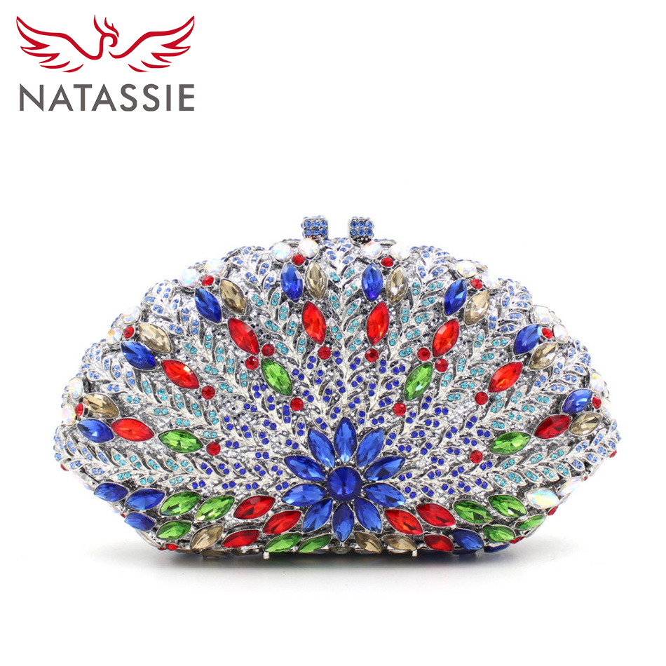 ФОТО NATASSIE Fashion High Quality Women Colourful Rhinestone Evening Bag Lady Party Clutch Bag Wedding Purses With Chain