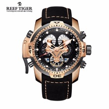 Reef Tiger Mens Sport Watches Complicated Dial Rose Gold Automatic Military Genuine Leather Waterproof Watch Relogio Masculino
