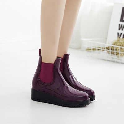 Yeni arrivel kalite kaymaz bayan yağmur çizmeleri moda pvc kauçuk yüksek topuk ayak bileği kadın ayakkabı kalın alt bayanlar kısa yağmur çizmeleri