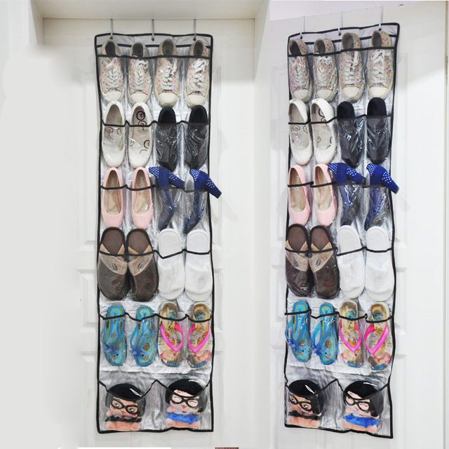 22 Pockets Multipurpose Shoes Organizer 6 Layer Storage Bag Transparent Hanging  Closet Foldable Door Hanging Shoes
