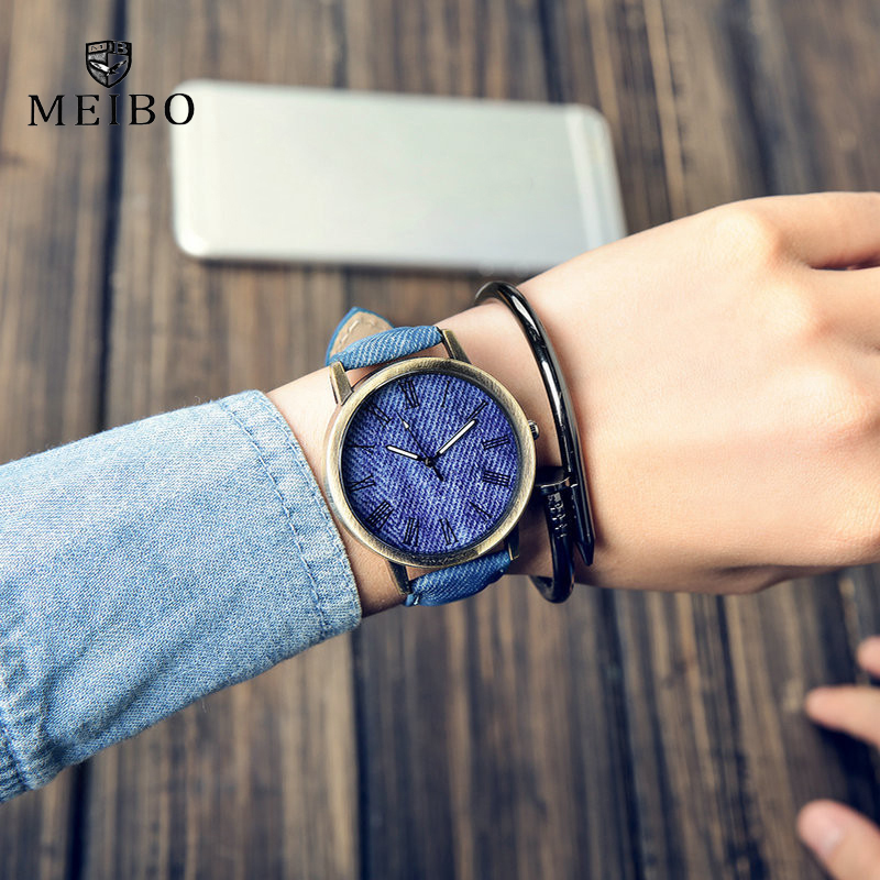 Top luxury Solid Color Men Watches fashion Jeans Leather MEIBO Quartz Wristwatch Ladies Female Watch 2019 relogio feminino