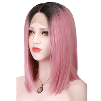 COLODO Black Ombre Pink Straight Bob Synthetic Lace Front Wigs For Women High Temperature Short Hairstyles