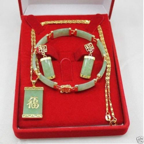 Wholesale price 16new ^^^^New - fashion beautiful green stone jewelry set wholesale price 16new ^^^^ewellery green stone inlay zircon earring pendant ring sets
