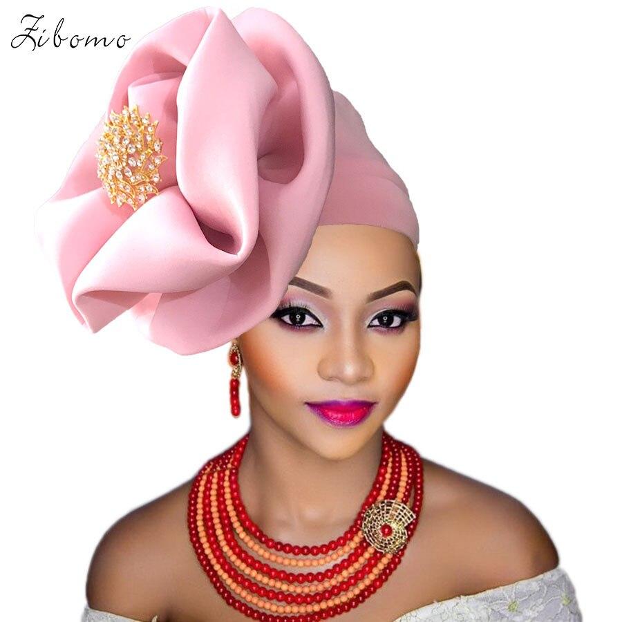Turban headtie african turban cap aso oke gele ready to wear auto hele african lace auto gele aso ebi headtie 2018 new (5)