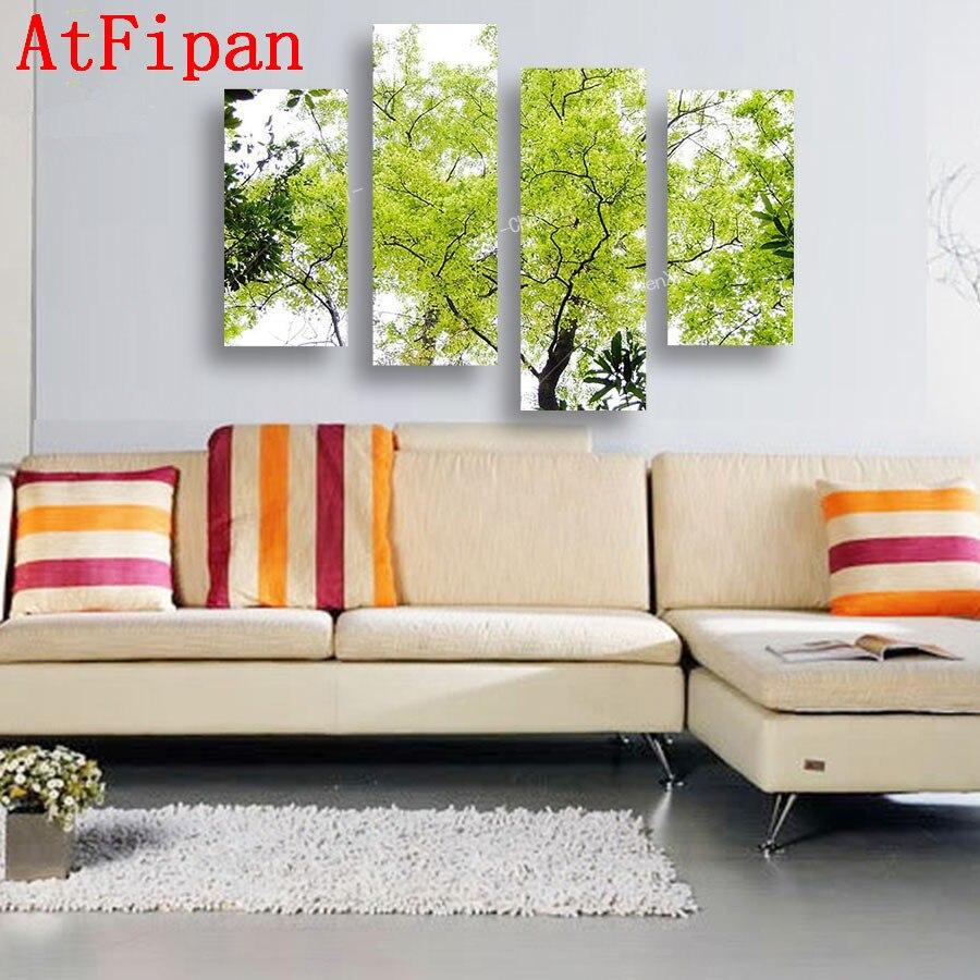 Modern Painting For Living Room Aliexpresscom Buy Atfipan 4p Modern Painting Tree Wall Art