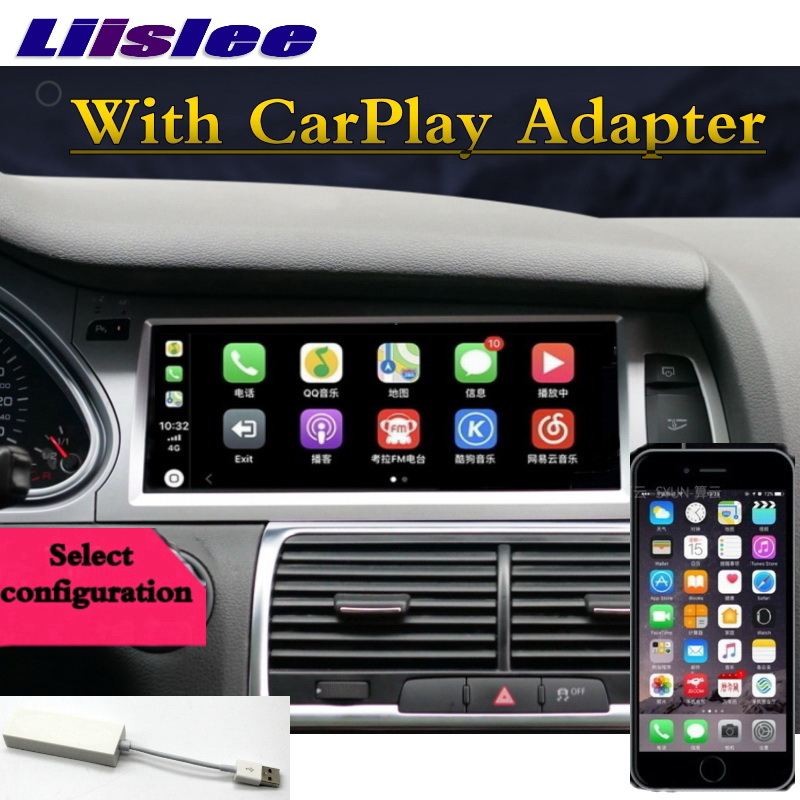 For Audi Q7 4L V12 2007~2015 NAVI LiisLee Car Multimedia CarPlay Adapter GPS WIFI Audio Radio Frame Navigation MAP Large Screen