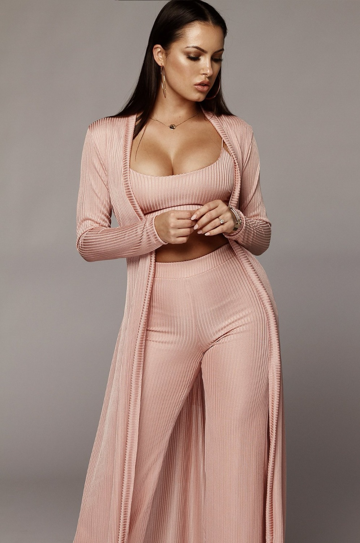 Bandage lace up long sleeve cardigan coat loose wide leg pants tube top 3 piece set for female women's suits 2