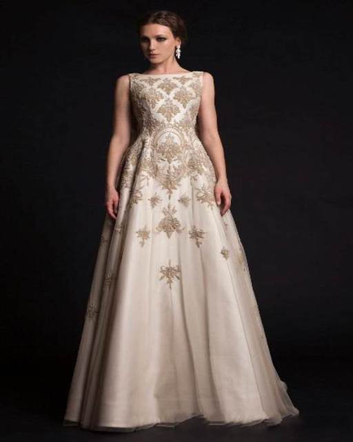 Elegant 2016 Middle East Prom Gowns Dubai Design Boat Neck Floor