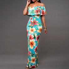 2016 Boho Fashion Sexy Bodycon Long Summer font b Dresses b font Off The Shoulder Strapless