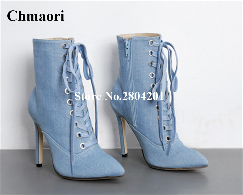 2018 New Denim Women Boots Pointed Toe High Heels Boots Thin Heels Zipper Jeans Ankle Boots Cross Strap Party Dress Women Shoes vintage women jeans calca feminina 2017 fashion new denim jeans tie dye washed loose zipper fly women jeans wide leg pants woman