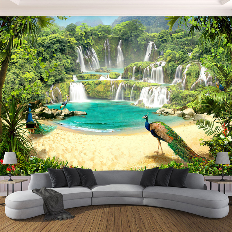 Custom 3D Wallpaper Murals Waterfall Peacock Lake Landscape 3D Effect Living Room Sofa TV Background Wall Mural Photo Wall Paper 3d photo wallpaper 3d large mural tv sofa background wall bedroom living room photography wood nature landscape wallpaper mural