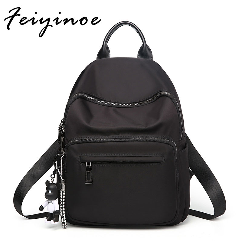 Backpack 2018 PU leather new students bag nylon cloth travel backpack