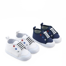New Arrivals Baby Soft Sole Crib Shoes White Navy Color Baby Boys Fashion Sneakers Cute Little Sport Casual Shoes First Walkers
