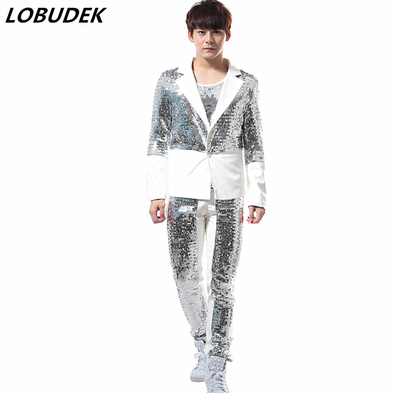 (jacket+pants) Tide Men's Suits Silvery Sequins Blazers Stage Costume Nightclub Punk Male Singer Rock Outfit Bar DJ Dance Wears