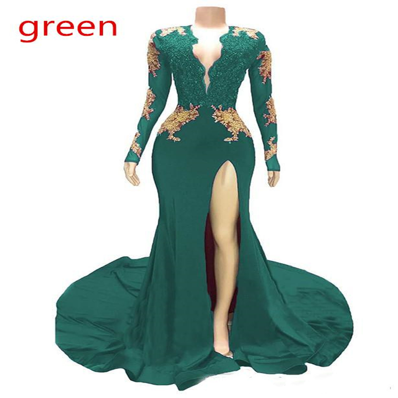 Dark Red Sexy Mermaid Prom Dresses 2019 V Neck Long Sleeves Sequined Beaded Special Occasion Dresses Formal Evening Dresses