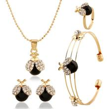 18K Gold Plated  Cherry pendant CZ Zircon Stud Earrings Ring Pendant Necklace Jewelry Sets For Children Girls Kid Baby