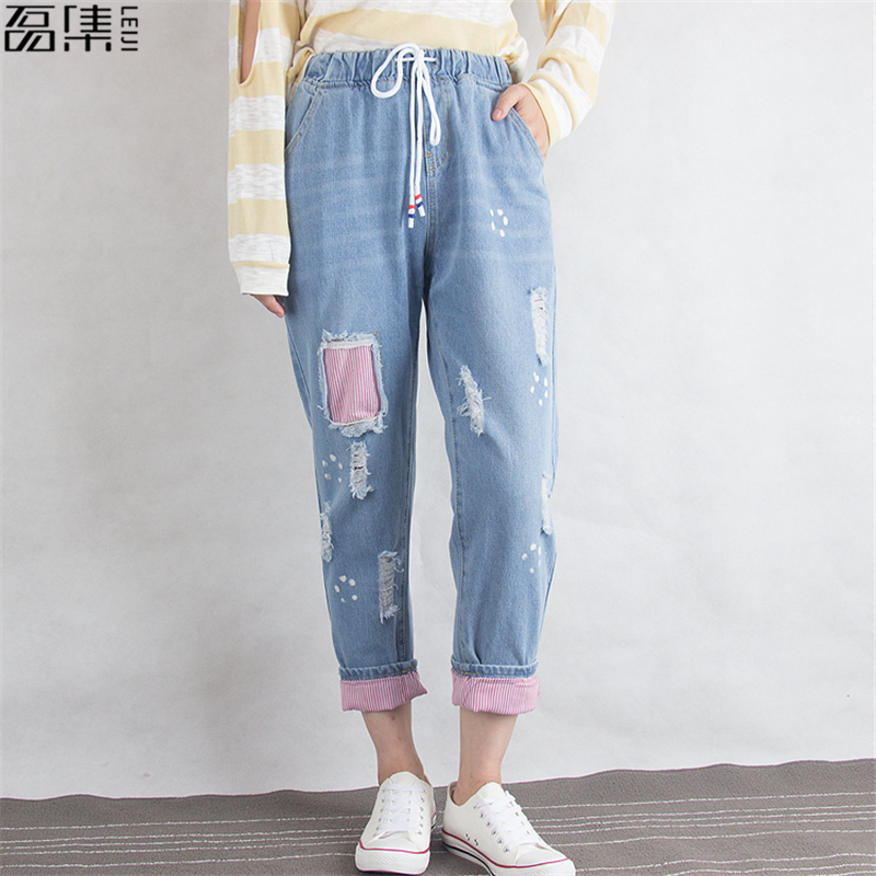 Ripped Jeans Women High Waist Autumn  Winter  Cotton Harem  Loose  Plus Size Female    Denim Pant 6XL
