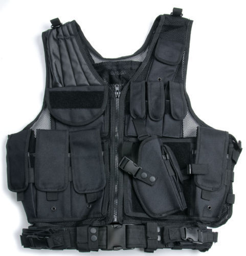 TACTICAL AIRSOFT PAINTBALL HUNTING COMBAT VEST WITH HOLSTER POUCH BLACK SWAT Police Tactical Military SCENARIO VEST Pistol UTG