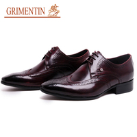 GRIMENTIN shoes men 2019 red black italian style top grad leather mens oxford shoes lace up brand formal business wedding shoes