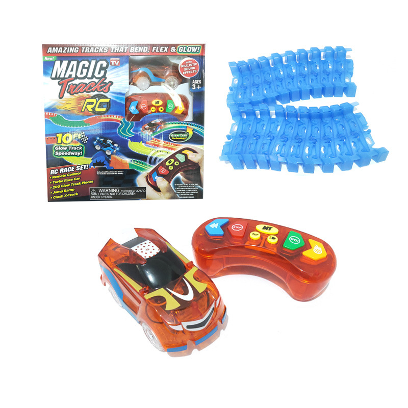 New Generation 2.4Ghz Mini RC Toys Car With Magical Track Soft Block Trail Race Game Flash LED Light 1:64 Remote Control Vehicle