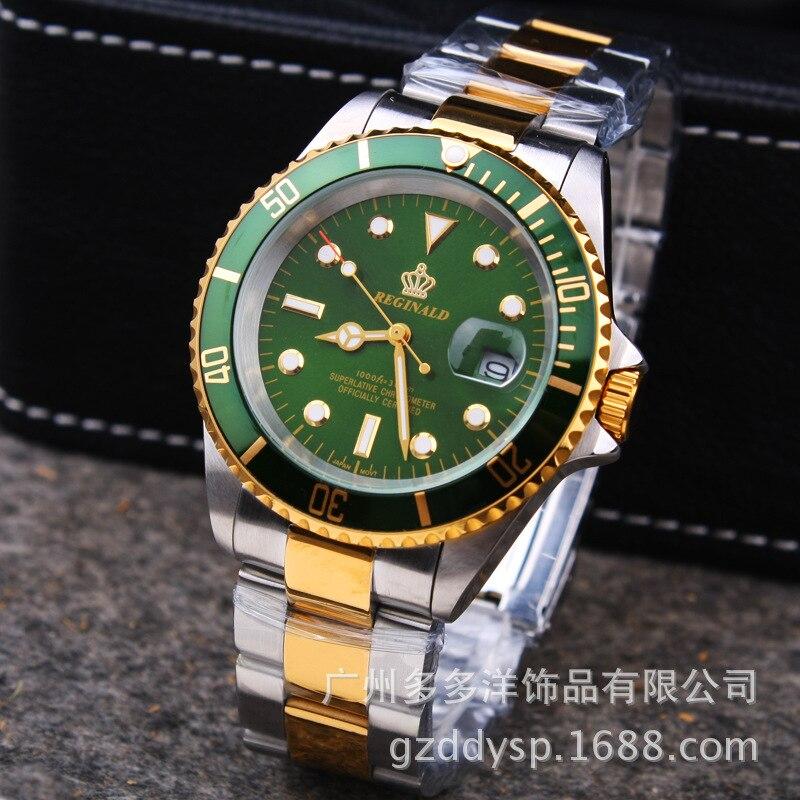 2016 luxus HK REGINALD Marke Armbanduhren Mode Männer Kleid GMT Sapphire Glas Datum Volle Edelstahl Kleid Quarz Uhren