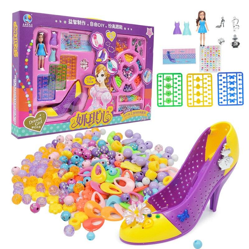 Girls Creative For DIY Toys Assembly High Heels Handmade Beads Bracelet For Girls Play House Children's Educational Gift Kit