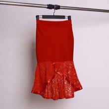 2016 lace decoration slim high waist fish tail slim hip skirt spring and autumn bust skirt irregular sweep slim hip skirt slim